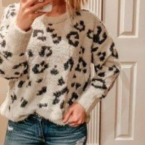 A&F Cheetah Plush Crewneck Sweater